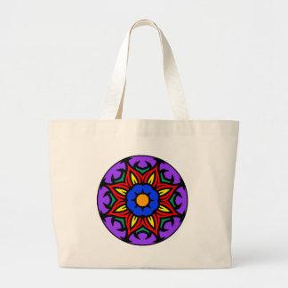 Mandala 26 flame flower color version large tote bag