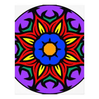 Mandala 26 flame flower color version letterhead