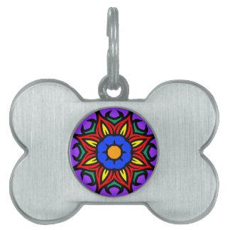 Mandala 26 flame flower color version pet ID tags