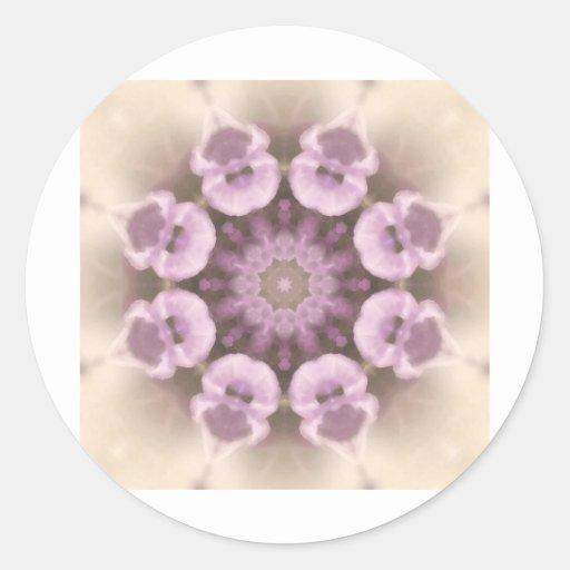 Mandala 27 de la flor etiqueta redonda