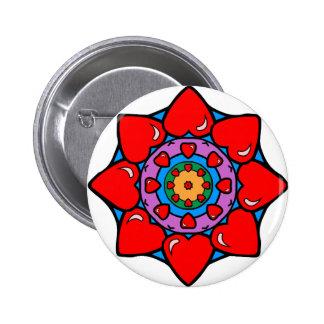 Mandala 36 hearts color version button