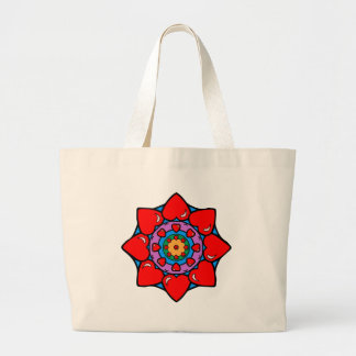Mandala 36 hearts color version large tote bag