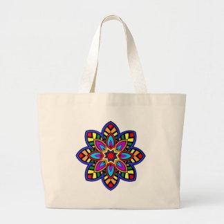 Mandala 42 chevron flower color version large tote bag