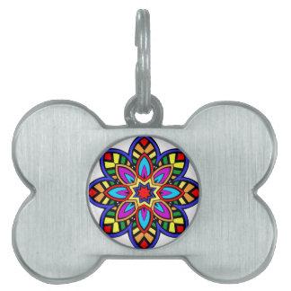 Mandala 42 chevron flower color version pet ID tag