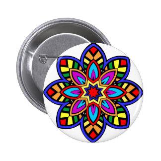 Mandala 42 chevron flower color version pinback button