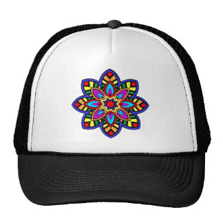 Mandala 42 chevron flower color version trucker hat