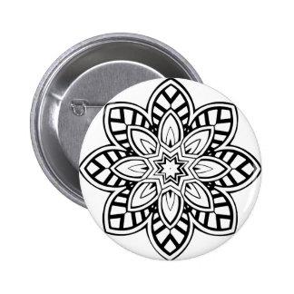 Mandala 42 chevron flower pinback button