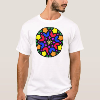 Mandala_50 colored stainglass tulips T-Shirt