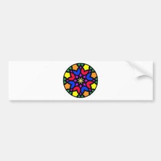 Mandala 50 stainglass tulips color version bumper sticker