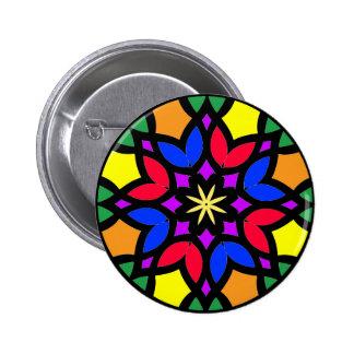 Mandala 50 stainglass tulips color version button