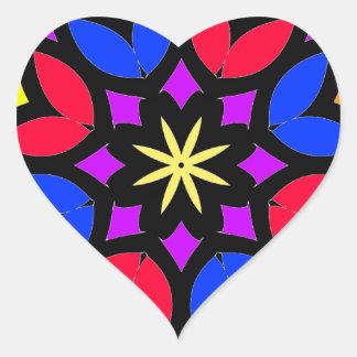 Mandala 50 stainglass tulips color version heart sticker
