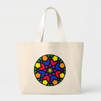 Mandala 50 stainglass tulips color version large tote bag