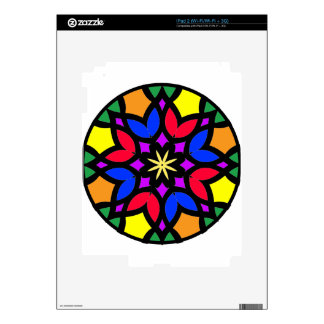 Mandala 50 stainglass tulips color version skins for iPad 2