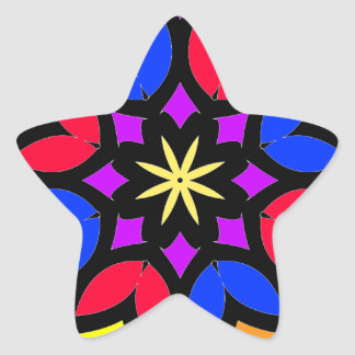 Mandala 50 stainglass tulips color version star sticker