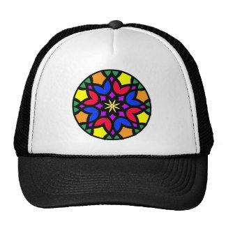 Mandala 50 stainglass tulips color version trucker hat
