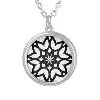Mandala 50 stainglass tulips silver plated necklace