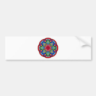 Mandala 52 star.flower color version bumper sticker