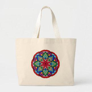 Mandala 52 star.flower color version large tote bag