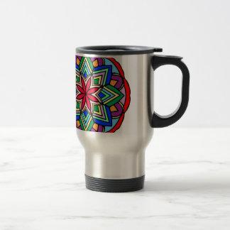 Mandala 52 star.flower color version travel mug