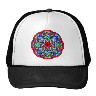 Mandala 52 star.flower color version trucker hat