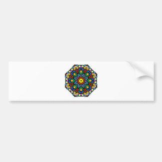 Mandala 6 candle flower color version bumper sticker