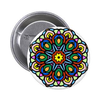 Mandala 6 candle flower color version button