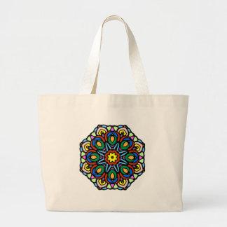 Mandala 6 candle flower color version large tote bag