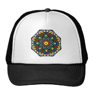 Mandala 6 candle flower color version trucker hat
