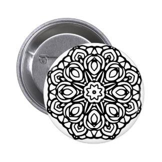 Mandala 6 candle flower pinback button