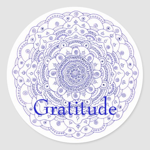 Mandala 6 gratitude classic round sticker zazzle