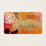 Mandala  Abstract Orange Watercolor Artist Vintage Business Card