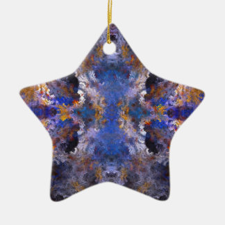 Mandala abstracta adorno navideño de cerámica en forma de estrella