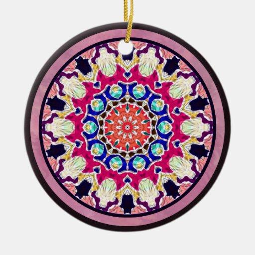 Mandala abstracta multicolora del caleidoscopio adorno redondo de cerámica