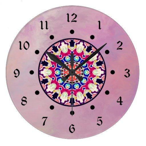 Mandala abstracta multicolora del caleidoscopio reloj redondo grande