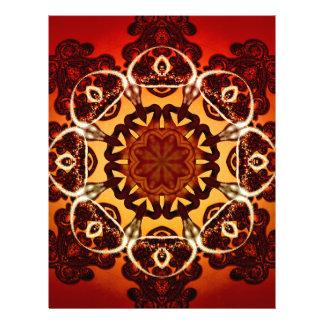 Mandala abstracta, roja, amarilla membrete