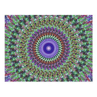 Mandala abstracta verde y púrpura postales