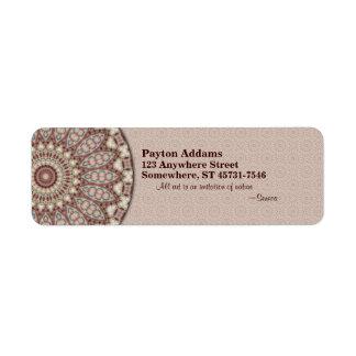 Mandala acolchada de la comodidad - etiqueta del r etiquetas de remite