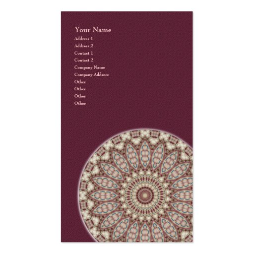 Mandala acolchada de la comodidad - tarjeta de tarjetas de visita