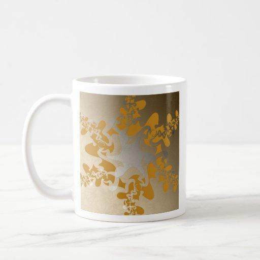 Mandala amarilla abstracta tazas