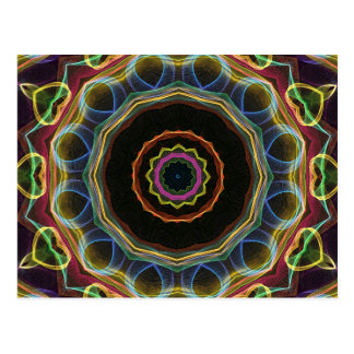 Mandala amarilla de los corazones tarjetas postales