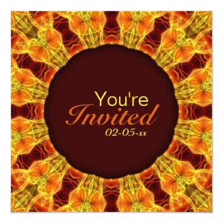 """Mandala amarilla y anaranjada invitación 5.25"""" x 5.25"""""""