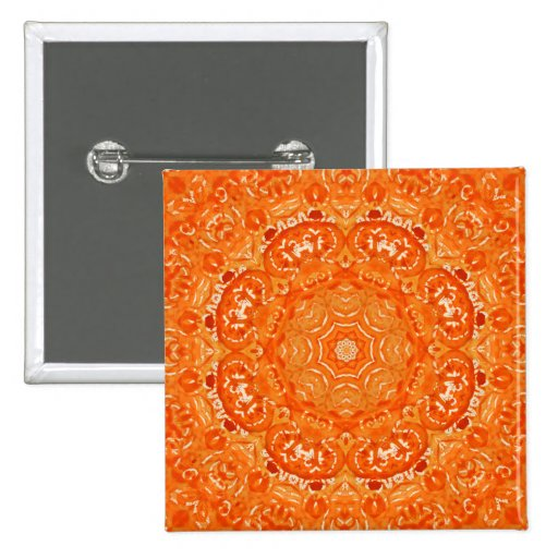 Mandala anaranjada atómica de la acuarela pin cuadrada 5 cm
