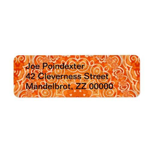 Mandala anaranjada de la acuarela del batik etiquetas de remite