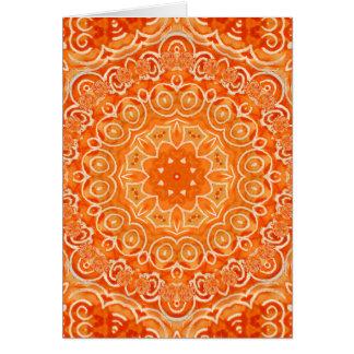 Mandala anaranjada de la acuarela del batik tarjeta pequeña