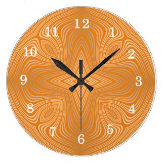 Mandala anaranjada del oro de la mandarina reloj redondo grande