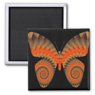 Mandala anaranjada del remolino de la mariposa de imán cuadrado