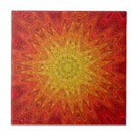 Mandala anaranjada y amarilla de Sun/de la estrell Azulejos Cerámicos