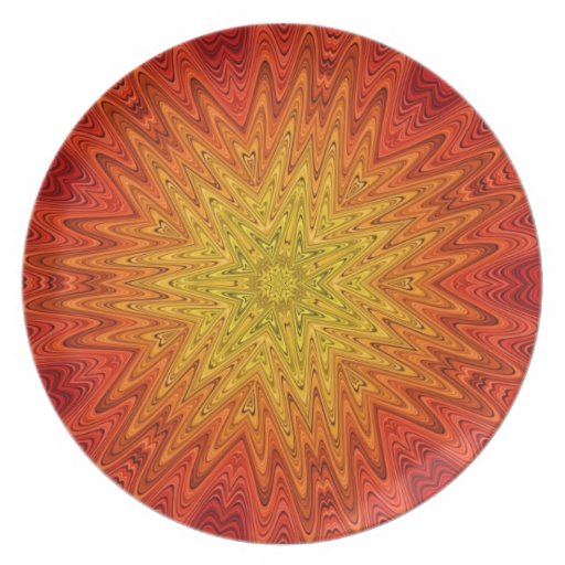 Mandala anaranjada y amarilla de Sun/de la estrell Plato De Comida