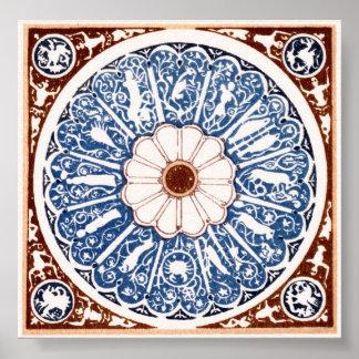 Mandala antigua del zodiaco impresiones