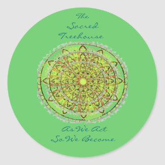 Mandala Art Green Sticker, large Classic Round Sticker